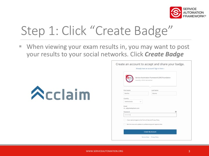Create your Service Automation Foundation Digital Badge
