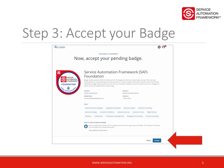 Accept your Service Automation Badge